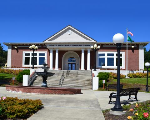 Exterior shot of the Chehalis branch library