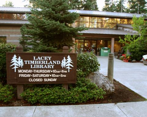 Exterior shot of the Lacey Timberland Library