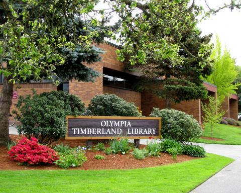 Exterior shot of the Olympia Timberland Library